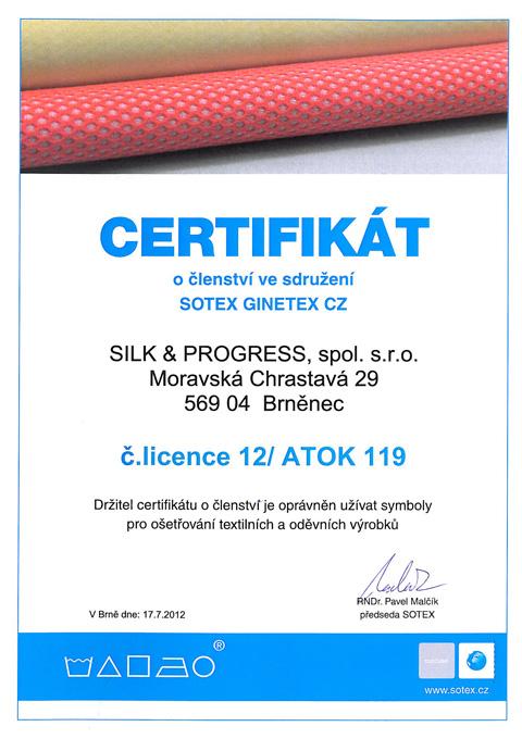 Certifikát o členství ve sdružení Sotex Ginetex CZ